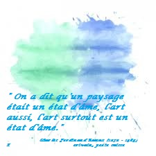 170315 Photo gratuite aquarelle - tâches bleues citation de Ramuz - Etat d'âme