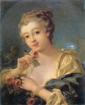 170318 Photo tableau de François Boucher - Jeune femme à la rose