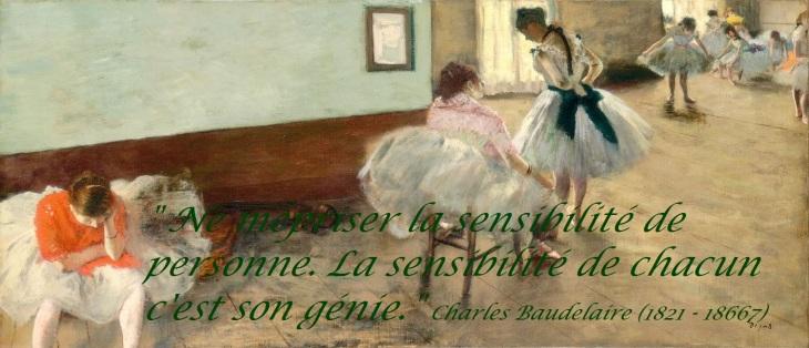 La leçon de danse, par Edgar Degas, 1879. photo gratuite avec citation sur la sensibilité