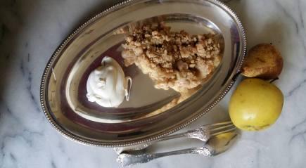 Photo de crumble et crème fraîche du 11-03-17
