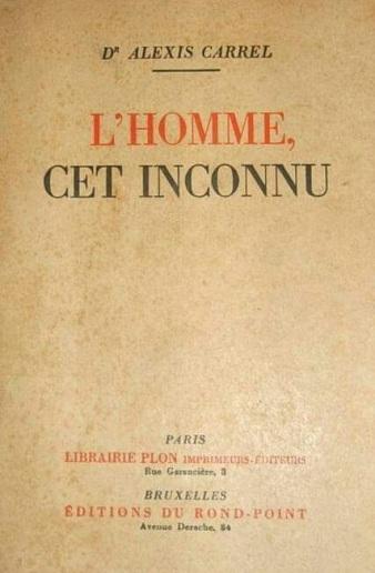 170411 Alexis Carrel - Page de couverture livre - L'homme cet inconnu