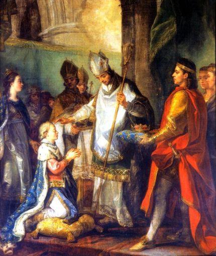 170426 Le-Sacre-de-saint-Louis-roi-de-France-à-Reims-le-29-novembre-1228-par-Charles-Amédée-Van-Loo-chapelle-Saint-Louis-de-lÉcole-Militaire-à-Paris
