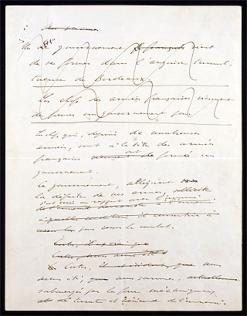 170619 L'appel du Gal de Gaulle 1er feuille sur 4 écrit le 17 pour le 18 06 1940