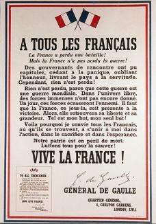 170619 L'appel du Gal de Gaulle affiche après l'appel du 18 06 1940 publié le 19 06 40