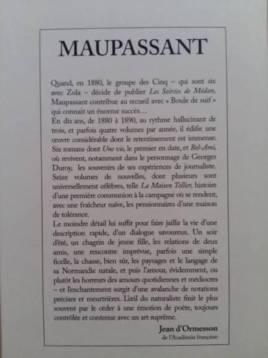 170706 Guy de Maupassant - Dernière de couverture d'Ormesson