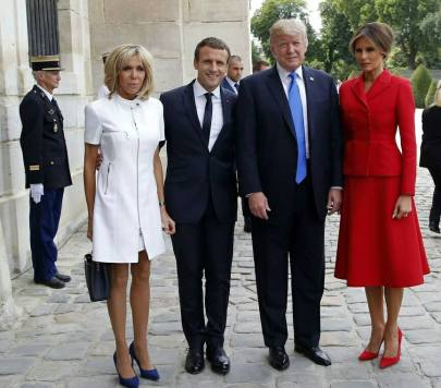 170715 Mélania et Donald Trump Emmanuel et Brigitte Macron à Paris le 14 07 17