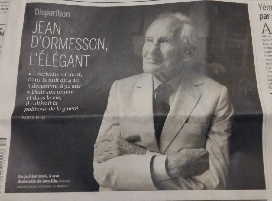 « Mon ami, Jean d'Ormesson sur l'autre rive » ou  « Une lettre qui fait mouche»