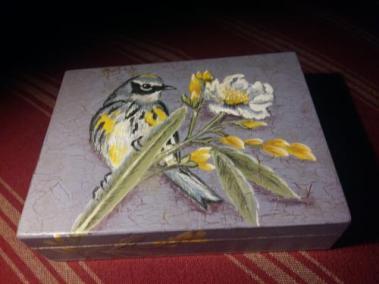 FB 250118 Boite Oiseau peint par M-E